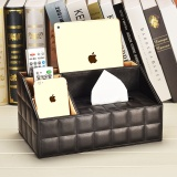 Best Rated European Style Living Room Storage Shelf Multifunctional Leather Storage Box Paper Towels Box Tea Table Remote Storage Shelf Napkin Carton Black1 Intl