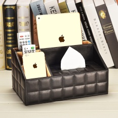 Promo European Style Living Room Storage Shelf Multifunctional Leather Storage Box Paper Towels Box Tea Table Remote Storage Shelf Napkin Carton Black1 Intl