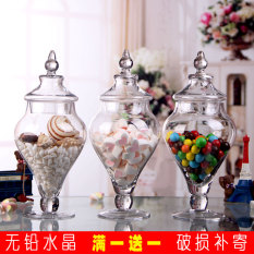 European-Style Transparent Glass Candy Jar With Lid By Taobao Collection.