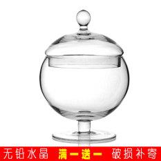 Promo European Transparent Glass Candy Jar With Lid Soft Dress