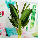 Compare Prices For Evergreen Artificial Plant Bush Potted Tree Flower Home Lifelike 25 Leaves Intl