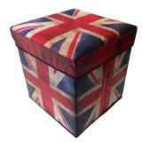 Latest Fabric Folding Storage Box Foot Leg Rest Step Stool Country Home Decor Union Jack Style