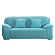 Uebfashion Fashion Slipcover Stretchable Pure Color Sofa Cushion Cover(Blue)-3 seats - intl