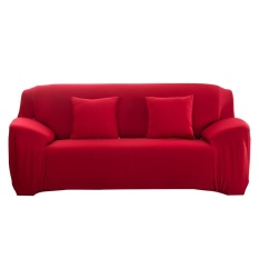 Uebfashion Fashion Slipcover Stretchable Pure Color Sofa Cushion Cover(Red)-2 seats - intl