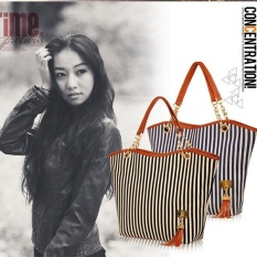 Fashion Women Canvas Vertical Stripe Tassel Shoulder Bag Handbag
