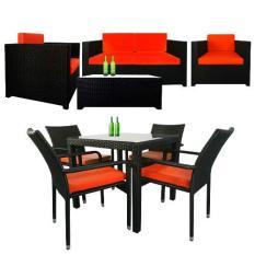 Fiesta Sofa Set II + Palm 4 Chair Dining Set in Orange Cushions (Bundle Set)