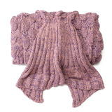 Sales Price Fish Scale Pattern Knit Mermaid Tail Sofa Blanket Soft Handmade Crocheted *D*Lt Pink Intl
