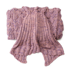 Latest Fish Scale Pattern Knit Mermaid Tail Sofa Blanket Soft Handmade Crocheted *D*Lt Pink Intl