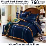 Great Deal Fitted Bed Sheet Set Brushed Microfiber Breathable Extra Soft And Comfortable Wrinkle Fade And Stain Quality Extremely Durable Navy Stripe Design