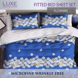 Discount Fitted Bed Sheet Set Flowers Design 4 Sizes Single Supersingle Queen King Bedsheets