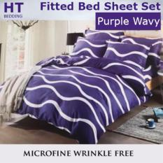 Price Fitted Design Bed Sheet Set Brushed Microfiber Breathable Extra Soft And Comfortable Wrinkle Fade And Stain Quality Extremely Durable Purple Wavy Design On Singapore