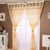 Floral Tulle Door Window Curtain Drape Panel Sheer Scarf Valances Orange Coupon
