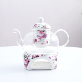 Best Reviews Of Flowers And Cup Ceramic Glass Fruit Afternoon Tea Candle Flower Teapot