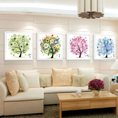 Flower Tree Pattern 4 Seasons DIY 5D Diamond Painting Mosaic Round Crystal Cross Stitch Diamond Embroidery Kits, Pack Of 4 Home Decoration