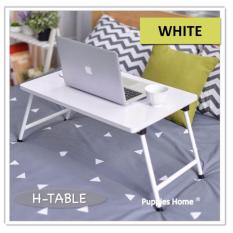 [White] Foldable Bed Table Compact Light Weight Movable Portable Small Size Laptop Stand Desk PC Notebook Study Bookshelf On Bed Gift Present