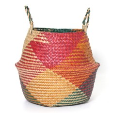 Foldable Belly Basket Multi Color Seagrass Storage Nursery Planting Laundry Bag - intl