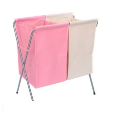 Best Price Foldable Dual Pouch Laundry Basket Pink White