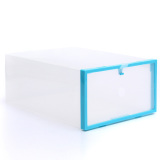 Brand New Foldable Plastic Transparent Drawer Case Shoe Storage Organizer Stackable Box Blue