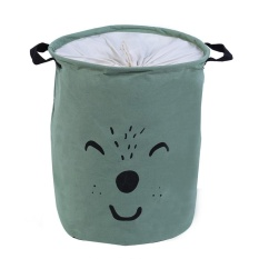 Folding Drawstring Cotton Linen with Handle Storage Box(Green) - intl