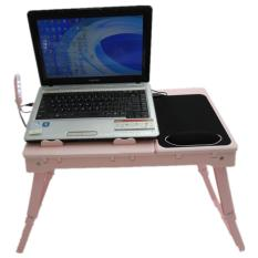 Folding Laptop table stand desk with cooling fan, 4 ports USB hub and LED light