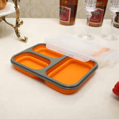 Wholesale Food Grade Silicone Collapsible Lunch Bento Box With Fork High Temperature Resistance