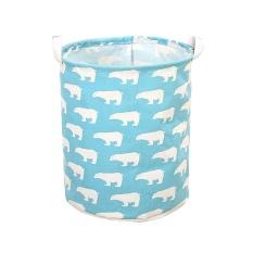 foonovom Foldable Laundry Clothes Washing Toy Cotton Linen Storage Basket Box Bin For Home Bathroom Organization, Blue - intl