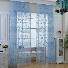 foonovom Roman Rod Type Village Garden Style Lovely Flower Drapery Sheer Type Tulle Curtain (Blue) - intl