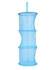 foorvof Storage Bags Three Layers Organizer Mesh Space Hanging Basket Clothes Toy Storage Basket Mesh Hanging Bag,Blue - intl