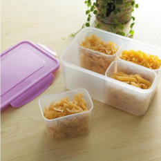 Sales Price Four Grid Sealed Crisper Refrigerator Plastic Food Storage Boxes Preservation Box Container Kitchen Supplies Purple 22 5X16X10 2Cm Intl