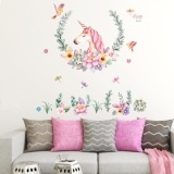 Sale Frd Unicorn Flowers Wall Sticker Decal Wallpaper Pvc Muralart House Decoration Home Picture Wall Paper For *d*lt Kids Intl China Cheap