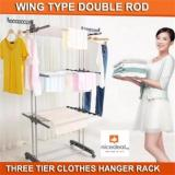 Sale Free Gift Wing Type Double Rod 3 Tier Clothes Hanger Rack Firmly And Stably Space Saving Singapore