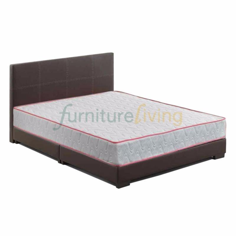 Furniture Living Queen size Divan Bedframe (Brown) + Queen size Spring Mattress