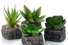 fuskm Set Of 4 Green Artificial Faux Mini Succulent Plants Pebble Sand Potted Plants Stone Planter Pot - intl