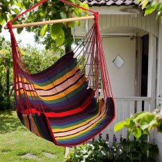 Garden Patio Porch Hanging Cotton Rope Swing Chair Seat Hammock Swinging Wood - intl