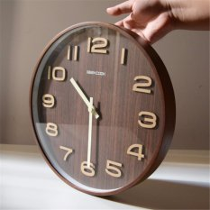 GEEKCOOK 14 inches 35CM classic tone dark brown wood wall clock(Brown) - intl