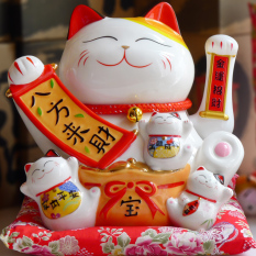 Extra Large Ceramic Electric Handle Fortune Cat Decoration Shop Opening Gift Wave Fortune Cat