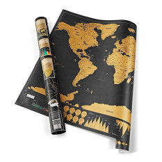 GETEK Deluxe Travel Edition Scratch Off World Map Poster Personalized Journal Log Gift (Black)