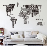 Cheapest Getek Letter World Map Quote Wall Stickers Black