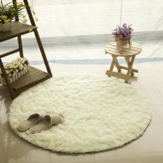 GETEK Round Soft Shaggy Round Rug Carpet Bedroom Floor Mat 80CM (Beige)