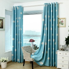 Gethome Cloud Sky Pattern Curtain Coated Blockout Eyelet Window Drape for Childrens Room Home Decor 100cm*130cm - intl