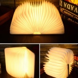 Lowest Price Gethome Nightlight Decorative Art Folding Book Lamp Usb Led Lamp Desk Table Wall Magnetic Environmental Wooden Lamp Warm White Intl