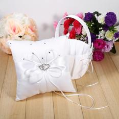 Girls Flower Basket and Ring Pillow Set Satin for Wedding Party Ceremony White - intl