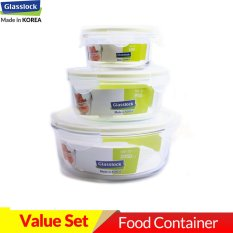 Sale Glasslock 400Ml 950Ml 2050Ml Round Set Food Storage Microwave Containers