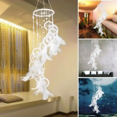 Go Go Store Handmade S Shaped Beads Plated Dream Catcher Wind Chime Decoration Ornament Blue - intl