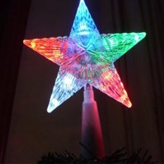 GO GO Store LED Five-Pointed Stars Christmas Tree Topper Home Backyard Decoration Colorful - intl Singapore