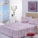 Gogolife Soft Cotton Bed Skirt Bedsheets Bed Cover Floral Printing 26 Purple In Stock
