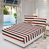 Low Cost Gogolife Soft Cotton Fitted Bed Sheet Stripe Pattern 21 White Stripe