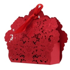 Deals For Gold Red Wedding Favor Box Gift Bags Rose Laser Cut Hollow Candy Box With Ribbon Intl