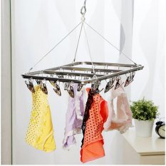 Best Deal Good Service 26 Peg Aluminium Metal Sock Bra Underwear Clothes Outdoor Dryer Laundry Hanger Intl