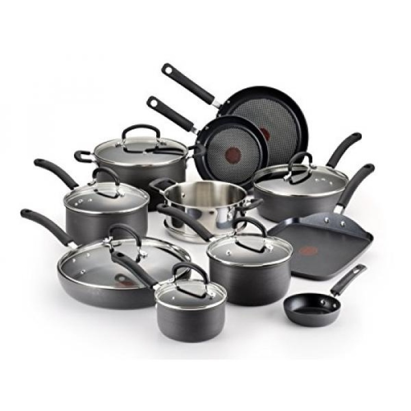 GPL/ T-fal E765SH Ultimate Hard Anodized Scratch Resistant Titanium Nonstick Thermo-Spot Heat Indicator Anti-Warp Base Dishwasher Safe Oven Safe PFOA Free Cookware Set, 17-Piece, Gray/ship from USA - intl Singapore